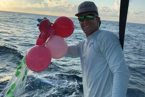 """A crew up captains with Galveston Sea Ventures has started a """"balloon roundup"""" challenge to help educate the public on the dangers of balloon releases. Captain Shane Cantrell said sea turtles are especially at risk because they often get tangled in the ribbons or ingest the colorful balloons after mistaking them for jellyfish."""