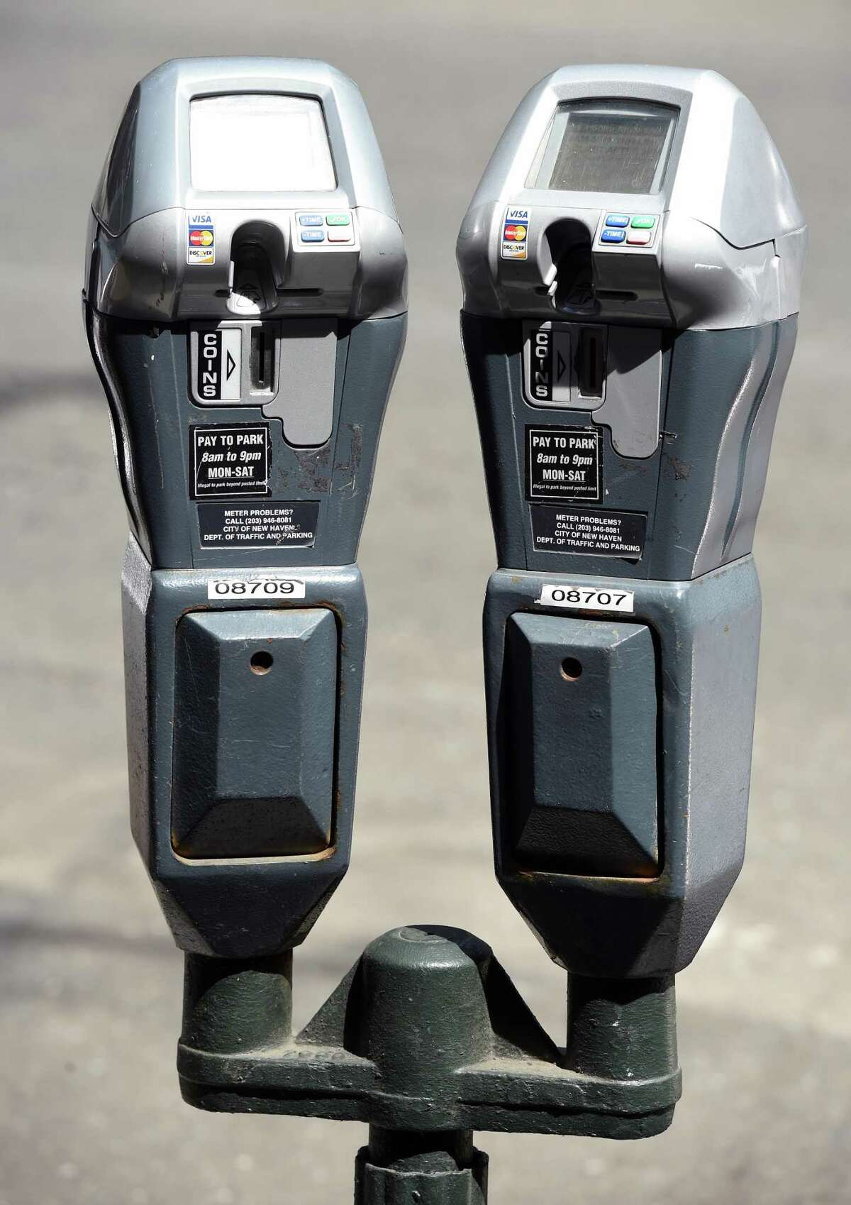 Parking meters on Chapel Street in New Haven on August 22, 2019.