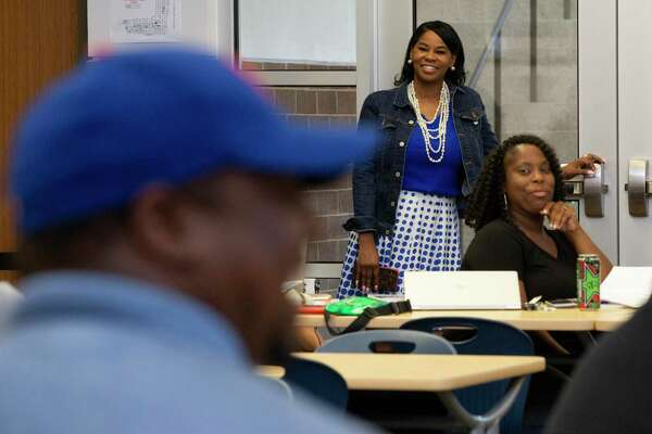 Worthing High School principal Khalilah Campbell-Rhone attends a meeting on Thursday, Aug. 22, 2019, in Houston about the new school year plans.