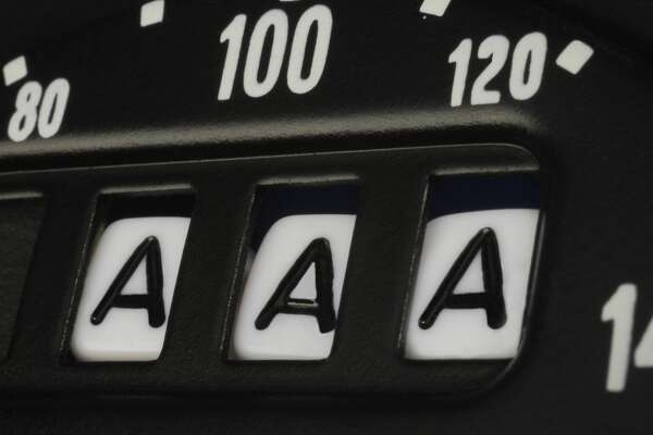 AAA credit rating as seen on an odometer.