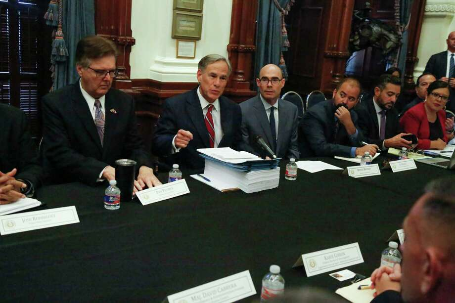 Texas Governor Greg Abbott addresses the media prior to hosting the first meeting of the Texas Safety Commission to discuss ways to respond to the recent mass shooting in El Paso. [JAMES GREGG/AMERICAN-STATESMAN] Photo: James Gregg / James Gregg/American-Statesman