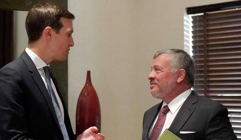 Jordanian King Abdullah II, right, meets with Senior Advisor Jared Kushner, Donald Trump's son-in-law, in the capital of Amman in July for talks on  Kushner's plan for an Israeli-Palestinian peace. Photo: Yousef Allan /Jordanian Royal Palace / AFP