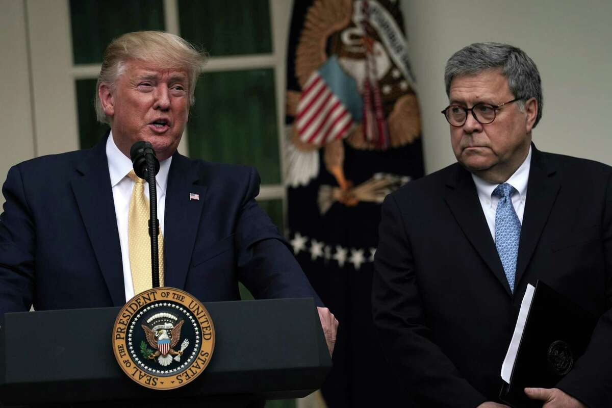 President Donald Trump makes a statement on the census with Attorney General William Barr in the Rose Garden of the White House on July 11. Trump and Barr's tough-on-crime approach does little to combat recidivism - and district attorneys are not to blame.
