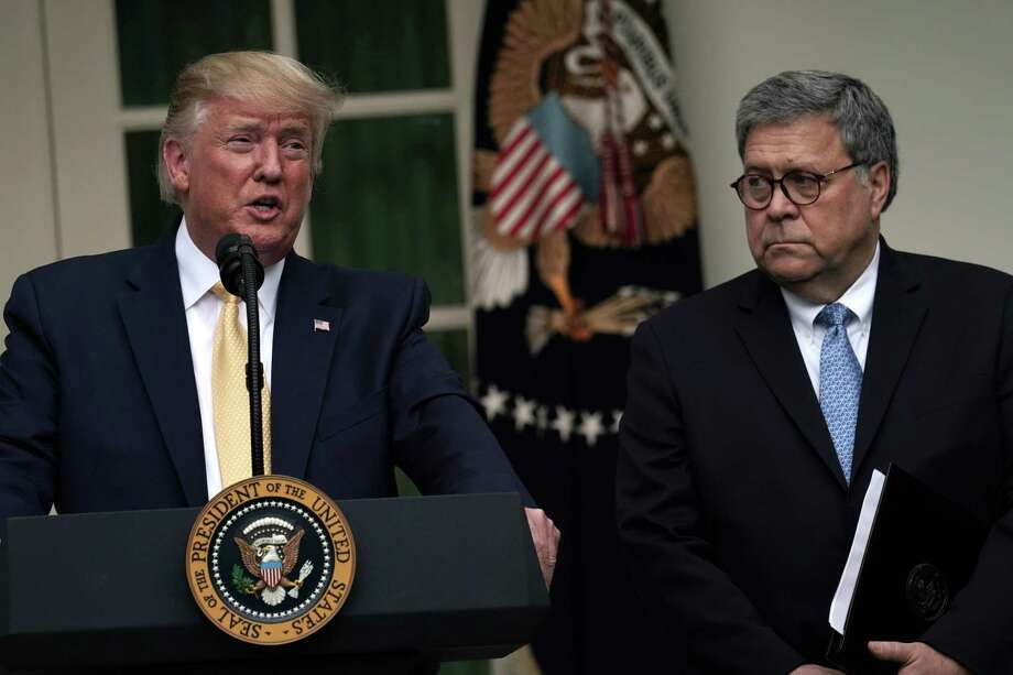 President Donald Trump makes a statement on the census with Attorney General William Barr in the Rose Garden of the White House on July 11. Trump and Barr's tough-on-crime approach does little to combat recidivism — and district attorneys are not to blame. Photo: Alex Wong /Getty Images / 2019 Getty Images
