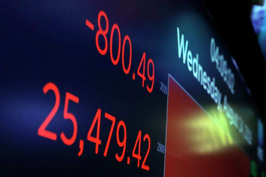 The DJIA sank 800 points, Aug. 14, after the bond market flashed a warning sign about a possible recession for the first time since 2007. Photo: Richard Drew /Associated Press / Copyright 2019 The Associated Press. All rights reserved
