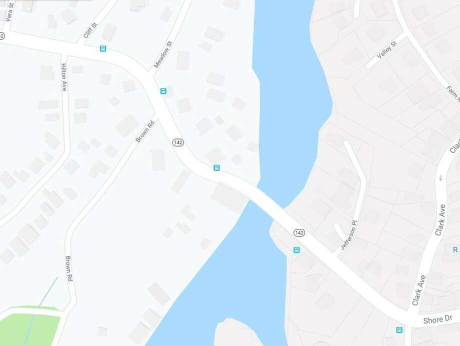 Part of Route 142 in Branford, Conn., is closed Friday, Aug. 23, 2019, because of a disabled tractor trailer. Photo: Contributed Photo / Google Maps Screenshot