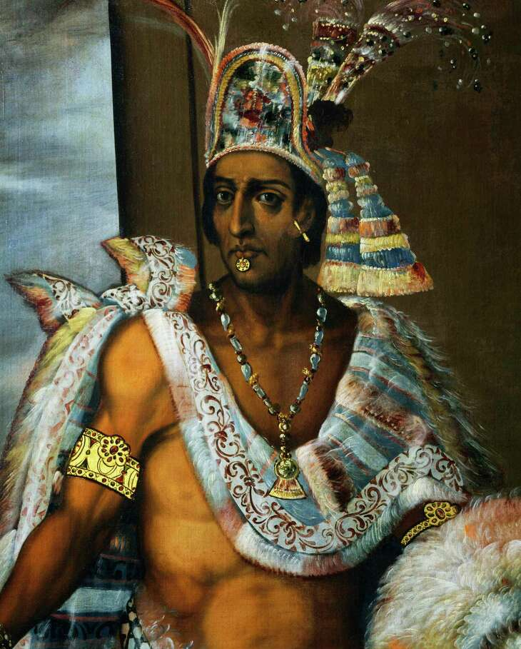 Portrait of Montezuma II Tecnochtitlan (ca 1466-1520), the last king of the Aztecs, 1680-1697, painting by Antonio Rodriguez, oil on canvas. Mexico, 16th-17th century. Detail. Florence, Palazzo Pitti (Pitti Palace) Museo Degli Argenti (Silver Museum)