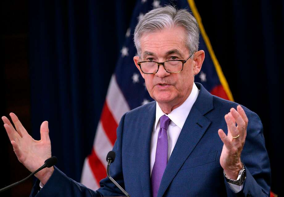 """(FILES) In this file photo taken on July 31, 2019 US Federal Reserve Chairman Jerome Powell speaks during a press conference after a Federal Open Market Committee meeting in Washington, DC on July 31, 2019. - US President Donald Trump complained on August 23, 2019, that the US Federal Reserve had done """"nothing"""" to boost the country's economy, suggesting that its chairman Jerome Powell was an enemy on a par with China. """"As usual, the Fed did NOTHING! It is incredible that they can 'speak' without knowing or asking what I am doing, which will be announced shortly,"""" Trump tweeted. He described the central bank as """"very weak"""" and added: """"My only question is, who is our bigger enemy, Jay Powel or Chairman Xi?"""" (Photo by ANDREW CABALLERO-REYNOLDS / AFP)ANDREW CABALLERO-REYNOLDS/AFP/Getty Images Photo: Andrew Caballero-reynolds, AFP/Getty Images"""