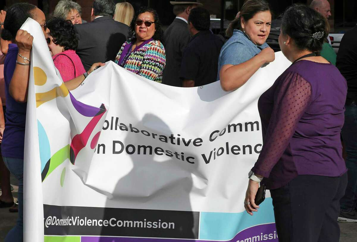 A new commission on domestic violence in Bexar County was announced at a news conference on the steps of the Bexar County Courthouse on Aug. 23, 2019.