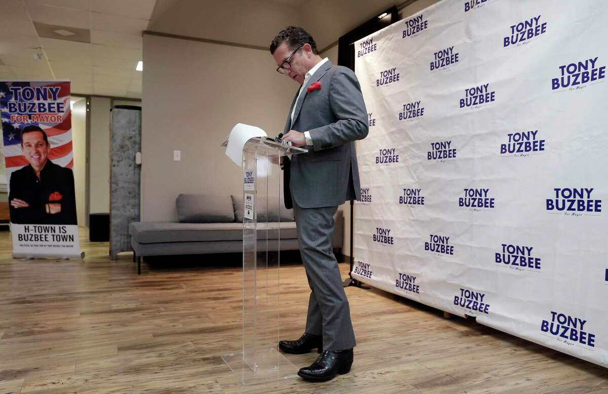 Houston mayoral candidate Tony Buzbee speaks about the findings from his investigation into alleged city government corruption during a press conference held at his campaign headquarters Friday, Aug. 23, 2019 in Houston, TX.