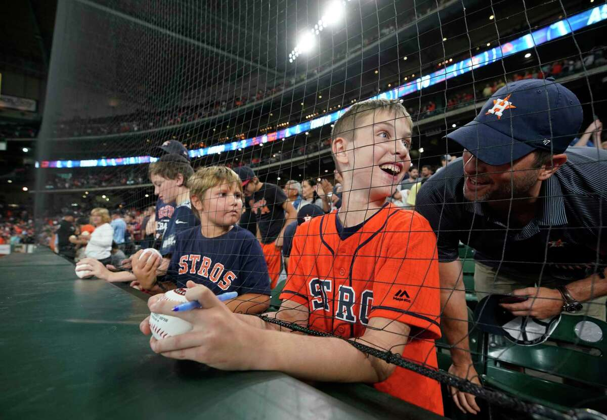 PHOTOS: A look at Astros giveaways the rest of this season Wesley Walker, 9, talks to his dad, Russell Walker, after getting an autograph from Houston Astros Josh Reddick by reaching under the protective netting before MLB game against the Detroit Tigers at Minute Maid Park Monday, Aug. 19, 2019, in Houston. Browse through the photos above for a look at Astros promotions for fans the rest of this season ...