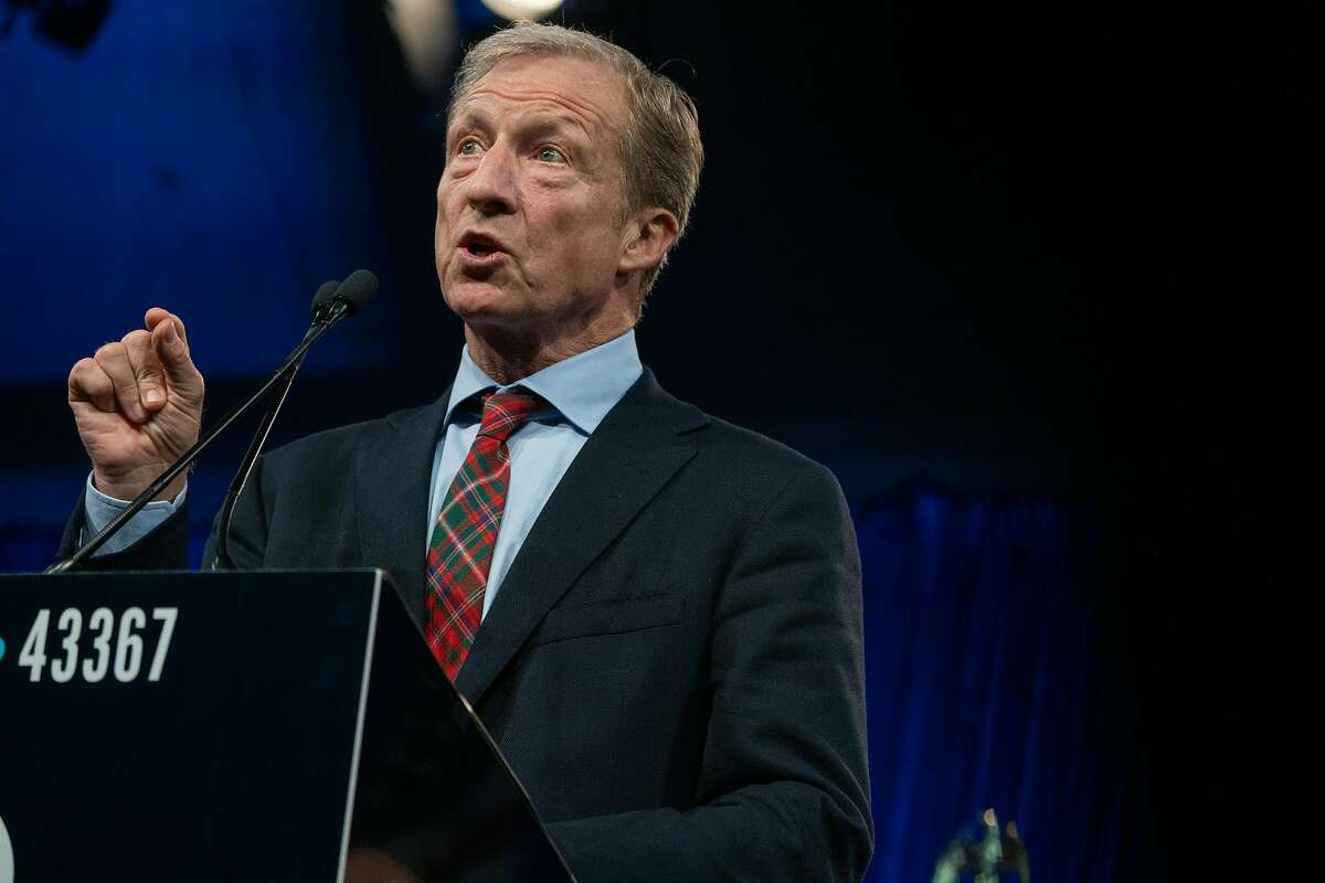 Democratic candidate Tom Steyer speaks at the Democratic National Committee Summer Meeting at the Hilton Union Square Hotel in San Francisco, Calif., on Friday, August 23, 2019.