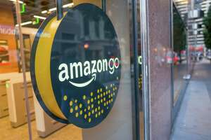 Facade with logo and sign at the Amazon Go concept store, a physical retail store operated by Amazon in which shoppers are able to take items from shelves and exit without a checkout process, having their items automatically charged to their Amazon Prime account, San Francisco, California; the store uses advanced machine vision and artificial intelligence technologies to automatically record purchases, December 25, 2018. (Photo by Smith Collection/Gado/Getty Images)