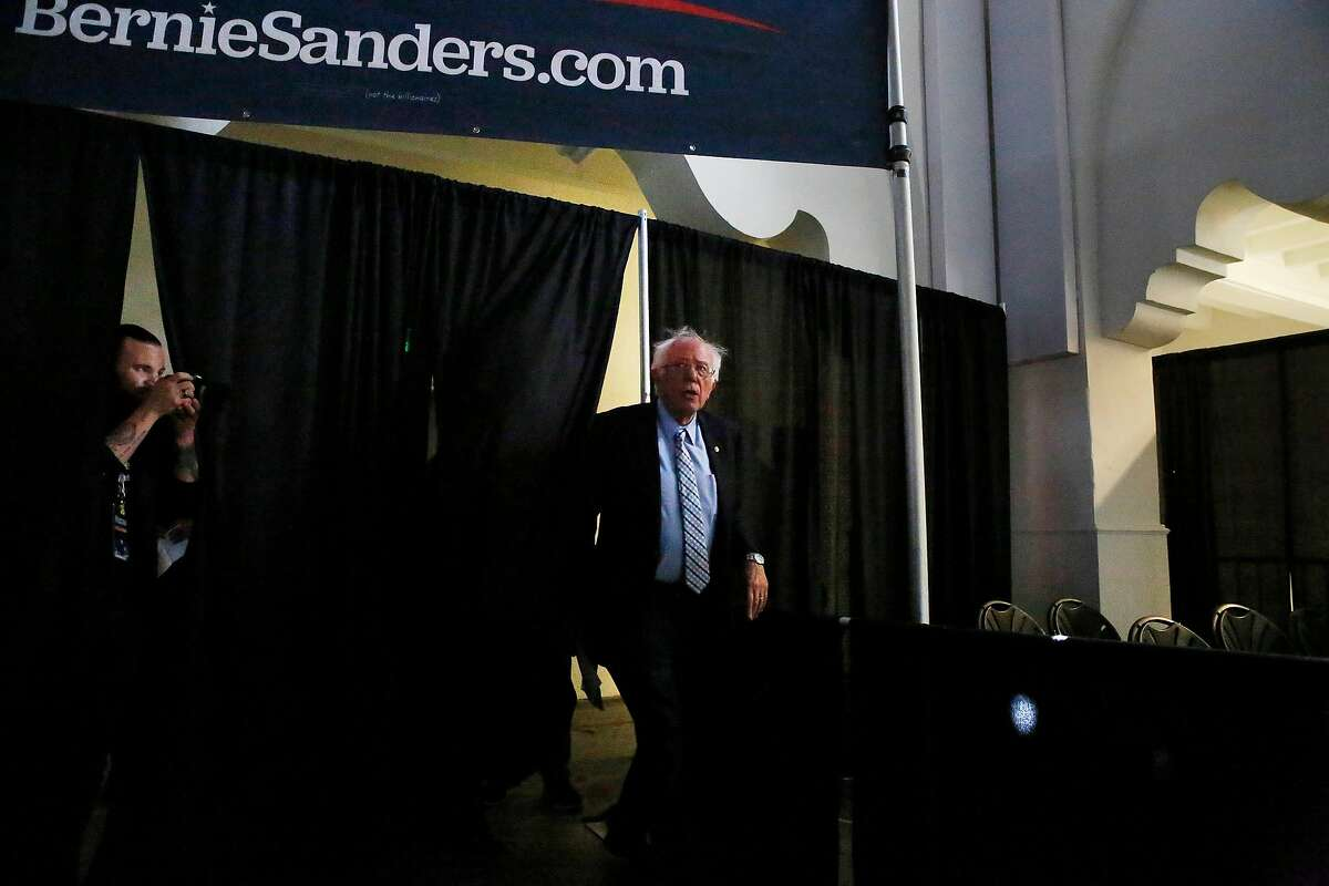 Sen. Bernie Sanders, candidate for Democratic presidential nomination, arrives to speak at a town hall meeting at 10 South Van Ness Avenue on Friday, August, 23, 2019 in San Francisco, CA.