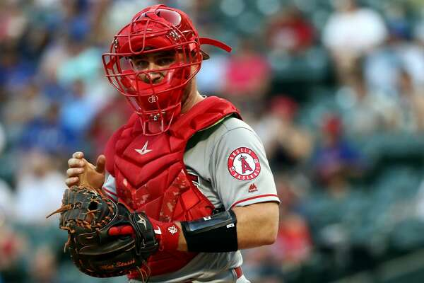 ARLINGTON, TEXAS - AUGUST 19: Max Stassi #33 of the Los Angeles Angels at Globe Life Park in Arlington on August 19, 2019 in Arlington, Texas. (Photo by Ronald Martinez/Getty Images)