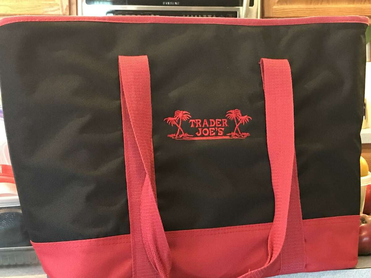 One of several styles of insulated reusable grocery bags that Trader Joe's offers sells to customers to carry frozen foods and refrigerated items.
