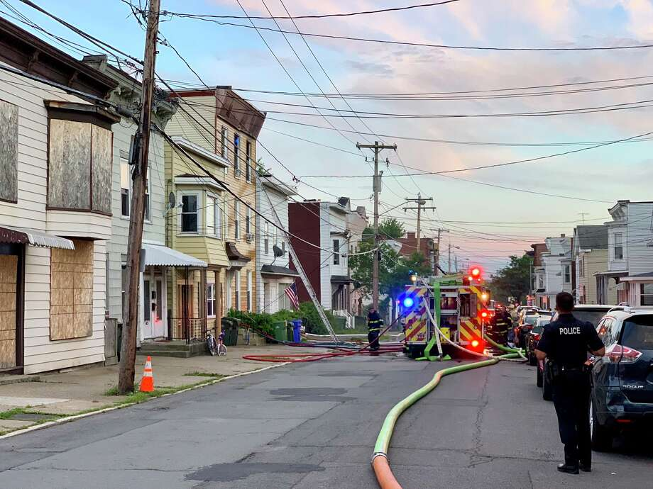 Cohoes firefighters responded to 136 Main St. just before 7 p.m. on Friday, Aug. 23, 2019 for a report of a fire in the rear of the three-story building's third floor. Photo: (Bethany Bump/Times Union)