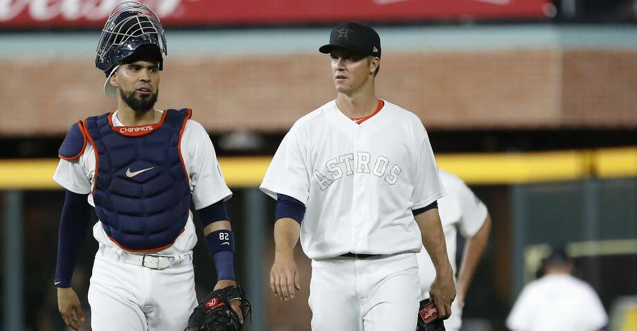 PHOTOS: Astros game-by-game Houston Astros starting pitcher Zack Greinke (21) walks out of the bullpen with catcher Robinson Chirinos (28) before the start of the first inning of an MLB game at Minute Maid Park, Friday, August 23, 2019. Browse through the photos to see how the Astros have fared in each game this season. Photo: Karen Warren/Staff Photographer