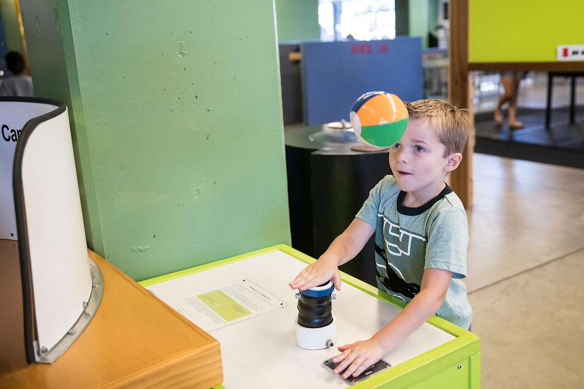 Ryan Pachoud, age 5, plays at the World of Wonders museum in Lodi, Calif., on Saturday, August 17, 2019. The hands-on and interactive educational science museum is located in downtown Lodi.