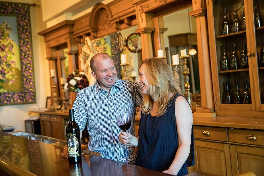Miles Berghold (left) and Julia Berghold (right) pose for a portrait in the tasting room at Berghold Vineyards in Lodi, Calif., on Friday, August 16, 2019. Photo: Laura Morton