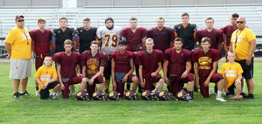 Members of the Deckerville varsity football team are, front row, from left, team manager Cooper Brown, Zach Ellington, Ethan Bowerman, Juan Carlos Ibarra, Tyler Noll, Connor Lamont and Issac Keinath; second row, from left, Dan Brown, Traiten Colesa, Carson Benjey, Richie Oldenbug, Jacan Ciscke, Cody Franzel, Justin Trigger, Ian Espinoza, Travis Trigger and Trevor Osborne. Photo: Eric Rutter/Huron Daily Tribune