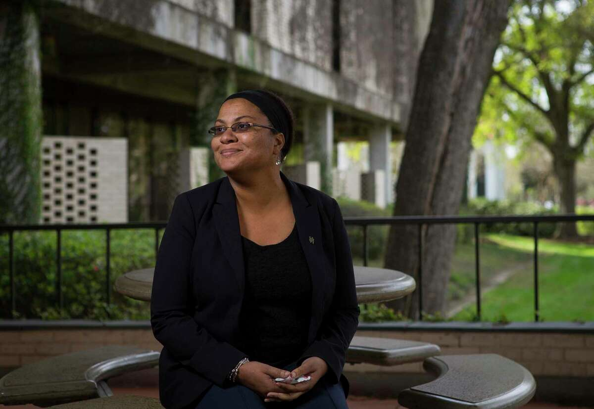 Dr. Raven Jones, director of the Urban Experience Program, has overseen a $17 million gift from Houston philanthropists and UH alumni Andy and Andrea Diamond. A new program will hire a liaison strictly dedicated to the the population of students who have aged out of foster care and will create a living-learning community for up to 5 students each year with financial assistance among other things. Photographed outside the UEP offices at the University of Houston on Tuesday, March 5, 2019.
