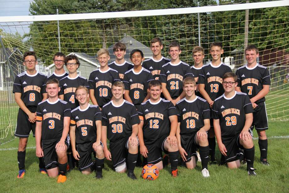 Members of the Harbor Beach boys soccer team are, from left, front row, Ethan Woodke, Sean Hessling, Caleb Hunter, Adam Booms, Tyler Holdwick and Ethan Pawlowski; second row, from left, Santiago Christizabal, Alex Boltiador, Mitchel Karg, Dwayne Idnay, Brendan Roberts, Nolan Rick and Kade Roggenbuck; third row, from left, Carter Messing, Cody Volmering, Jayson Siemen and Camron Lewens. Photo: Mark Birdsall/Huron Daily Tribune