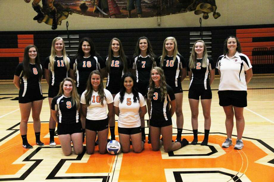 Members of the Harbor Beach volleyball team are, front row, from left, Taryn Arntz, Claire Woodke, Kathryn Ocomen and Amber Pleiness; second row, from left, Kirsten Stein, Jenna Guza, Katrna Gentner, Makayla Roberts, Maya Pfaff, Leandra Woslchleger, Kenzie Knoblock and coach Stephanie Weiss. Photo: Mark Birdsall/Huron Daily Tribune