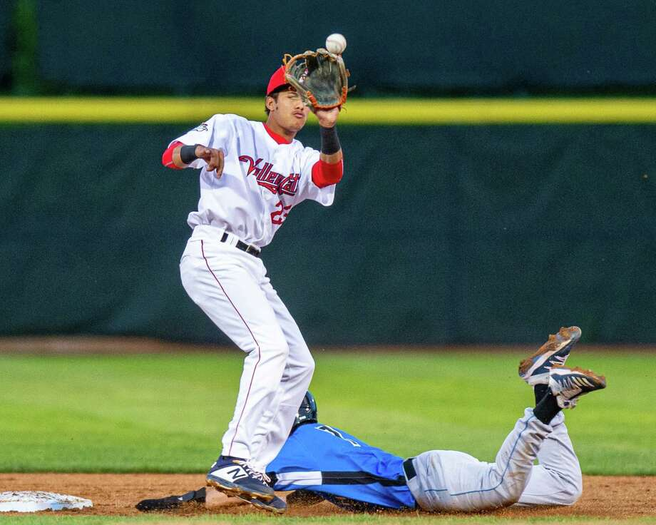 Tri-City ValleyCats shortstop Deury Carrasco waits for the ball at second base as Hudson Valley Renegades runner Nick Sogard slides in at the Joseph L. Bruno Stadium in Troy NY on Friday, Aug. 23, 2019 (Jim Franco/Special to the Times Union.) Photo: James Franco / 40047207A