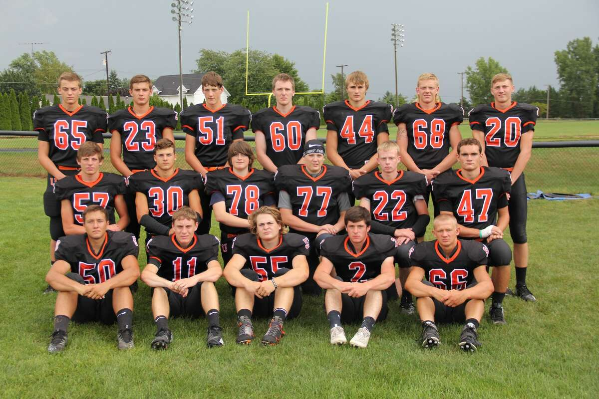 Members of the Ubly varsity football team are, front row, from left, Ethan Smalley, Levi Perusla, Nolan Van Erp, Casey Sweeney and Austin Burk; second row, from left, Ethan Peruski, Carson Heleski, Griffin Peruski, Ethan Gillig, Kyle Sweeney and Colin Oberski; third row, from left, Carter Hughes, Isaac Warczinsky, Alex Foote, Logan Hulburt, Shane Osantowski, Austin Peruski and Blake Badger.