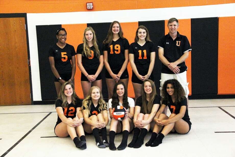 Members of the Ubly volleyball team are, front row, from left, Elizabeth Weber, Haley Klama, Josie Gusa, Abigail Sorenson and Angela Bezos; second row, from left,  Dajnae Leipprandt, Allison Lautner, Lindsey Guza, Kylee Brandt and coach Aaron Mueller. Not pictured is Samantha Souva. Photo: Mark Birdsall/Huron Daily Tribune