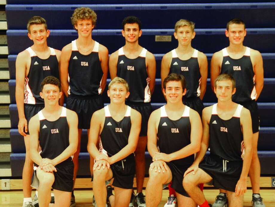 Members of the Unionville-Sebewaing boys cross country team are, front row, from left, Jacob VanHove, Ty Pavlichek, Nathan Miklovic and Tyler Aleksink; second row, from left, Michael Jacobs, Ethan Liken, David Khoury, Bryce Langmaid and Bentley Alderson. The team finished second at the D4 finals in Brooklyn on Saturday, Nov. 2, 2019. Photo: Eric Rutter/Huron Daily Tribune