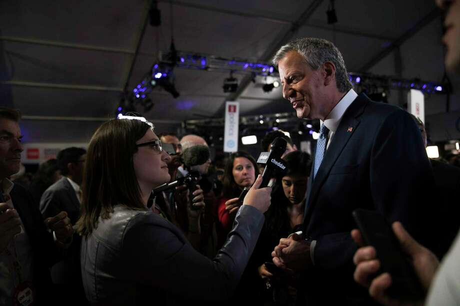New York City Mayor Bill de Blasio talks to reporters after the second night of the Democratic presidential debates at the Fox Theater in Detroit on July 31, 2019. When de Blasio embarked on his long-shot campaign, he hoped to convince voters that his progressive record would lift him to the White House, but instead, the challenges he faced in the nation's largest city are starting to define his bid, and possibly his political future. (Maddie McGarvey/The New York Times) Photo: MADDIE MCGARVEY / NYTNS