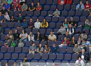 Fans watch Team Americas' playTeam World in the first period of a ice hockey game during the Aurora Games at the Times Union Center on Friday, Aug. 23, 2019 in Albany, N.Y.(Hans Pennink / Special to the Times Union)
