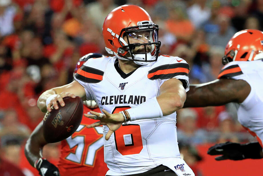TAMPA, FLORIDA - AUGUST 23: Baker Mayfield #6 of the Cleveland Browns passes during a preseason game against the Tampa Bay Buccaneers at Raymond James Stadium on August 23, 2019 in Tampa, Florida. (Photo by Mike Ehrmann/Getty Images) Photo: Mike Ehrmann / 2019 Getty Images