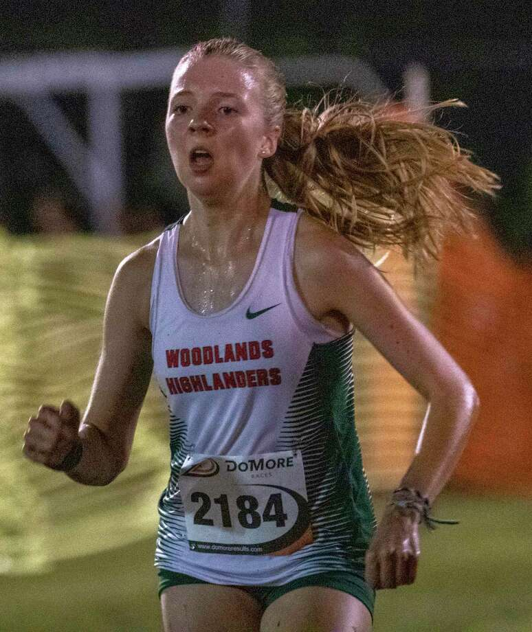 Brooke Forbes of The Woodlands crosses the finish line during the annual Friday Night Lights cross country meet Friday, August 23, 2019 at Bear Branch Fields in The Woodlands. Photo: Cody Bahn, Houston Chronicle / Staff Photographer / © 2019 Houston Chronicle