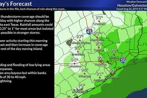 The Houston area could see showers and scattered thunderstorms Saturday amid temperatures in the low 90s, according to the National Weather Service.