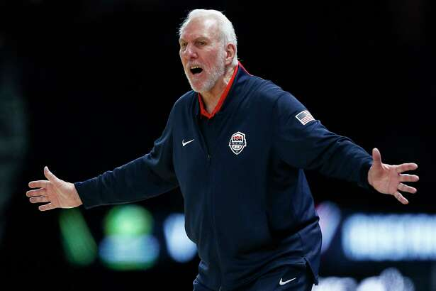 MELBOURNE, AUSTRALIA - AUGUST 24: Gregg Popovich the Head Coach of the USA National Team reacts during game two of the International Basketball series between the Australian Boomers and United States of America at Marvel Stadium on August 24, 2019 in Melbourne, Australia.