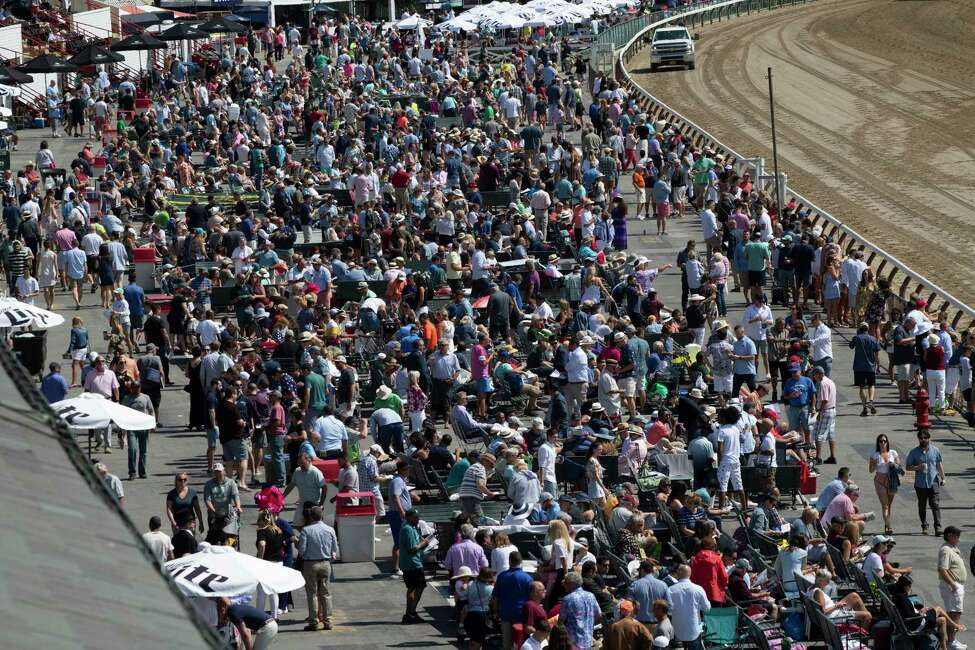 A very large crowd is building after the first race on Travers Day 150 at the Saratoga Race Course Saturday Aug. 24, 2019 in Saratoga Springs, N.Y. Photo special to the Times Union by Skip Dickstein