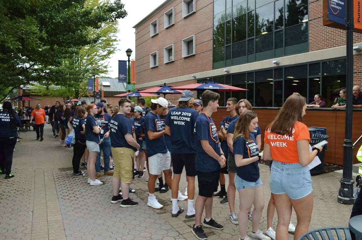 Students arrive on the Western Connecticut State University campus in Danbury on Friday, Aug. 23, 2019, the first move-in day of the fall semester.