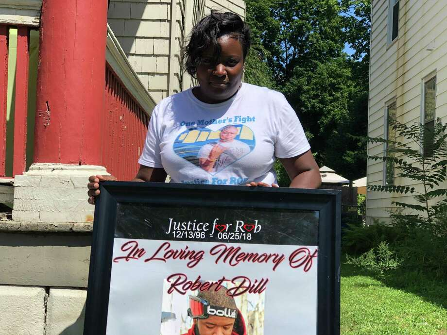 A back to school giveaway and community gathering was held Saturday by the family of Robert Faulk-Dill, shot and killed in 2018, to honor his memory. Here, Nikki Dill. Photo: Ben Lambert / Hearst Connecticut Media /