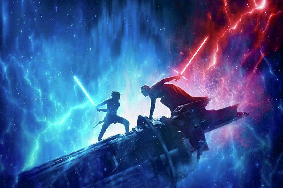 During D23 Expo, LucasFilm shared a poster for the upcoming Star Wars: The Rise of Skywalker, showing Rey and Kylo Ren facing off in the shadow of the Emperor. Photo: LucasFilm