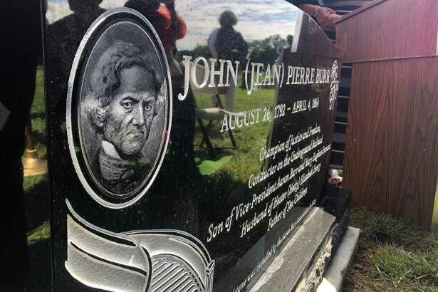 The brand-new headstone for John Pierre Burr lists his parentage and describes his achievements, including his vital service to the Underground Railroad in Philadelphia.