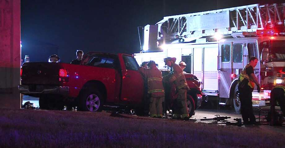 San Antonio police say the driver of a truck had to be cut from the wreckage following a crash overnight on the North Side Saturday, Aug. 24, 2019. Photo: 21 Pro Video