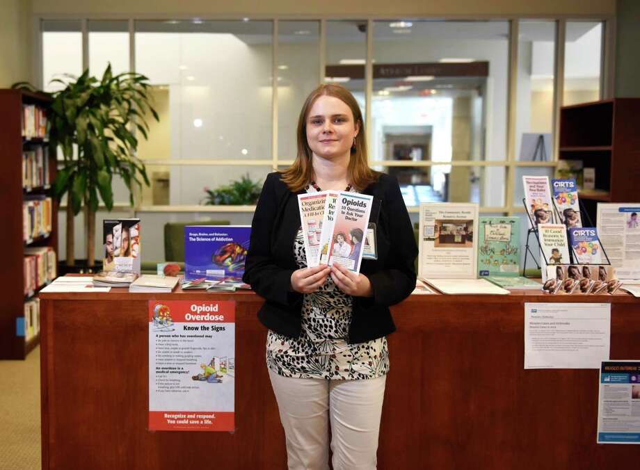 "Consumer Health Librarian Veronica Bilenkin shows a selection of pamphlets in the Community Health Resource Section of the Medical Library at Greenwich Hospital in Greenwich, Conn. Tuesday, Aug. 20, 2019. Her services include help with researching diagnoses online, assistance with disease prevention and outreach, all free of charge. She will present a course in ""Searching the Internet for Medical Solutions"" in Greenwich Hospital's Hyde Conference Room from 1 to 2 p.m. on March 4 and March 11. Photo: File / Tyler Sizemore / Hearst Connecticut Media / Greenwich Time"