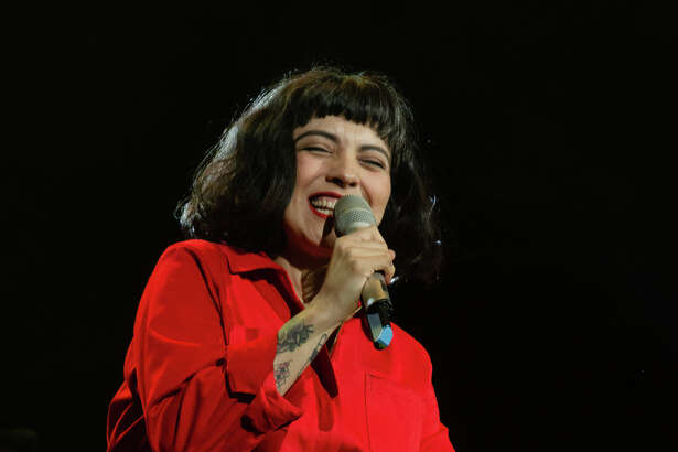 Mon Laferte performs for the crowd at the Sames Auto Arena, Friday, August 23, 2019.