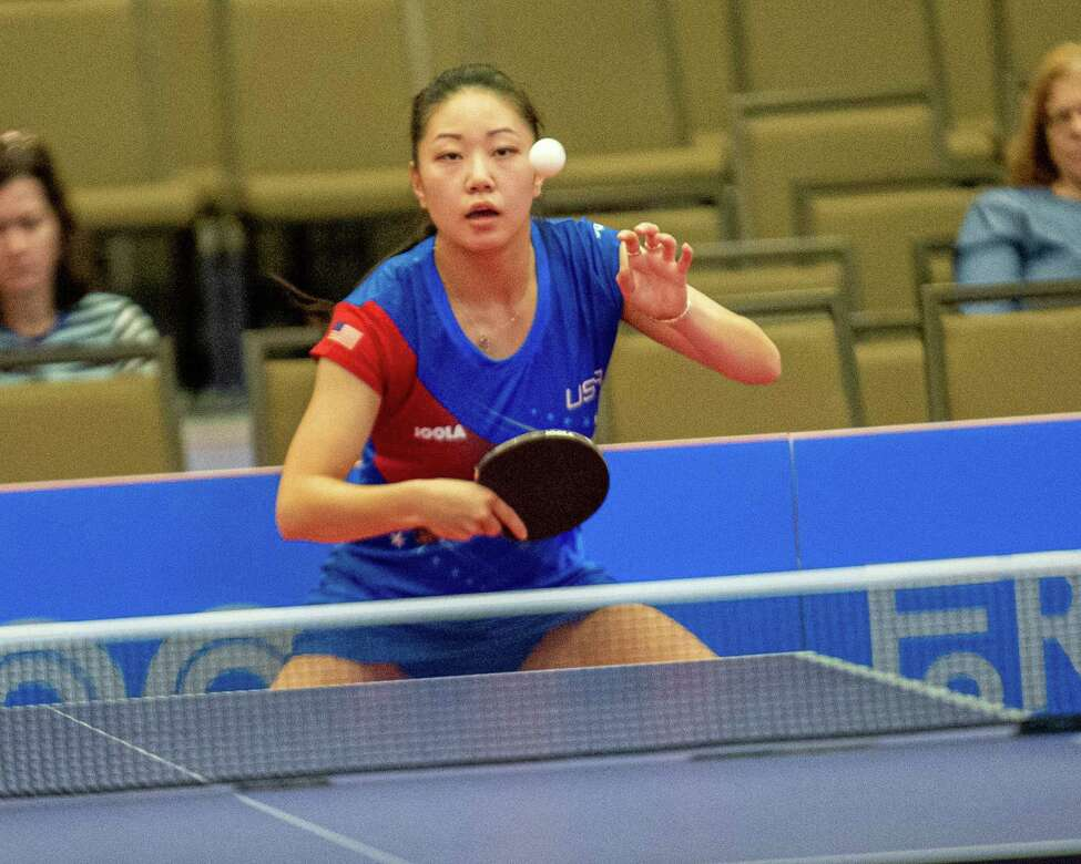 Lily Zhang, of Team Americas, takes on Sophia Kle, of Team World, during a table tennis match during the Aurora Games at the Albany Convention Center on Saturday, Aug. 24 (Jim Franco/Special to the Times Union.)