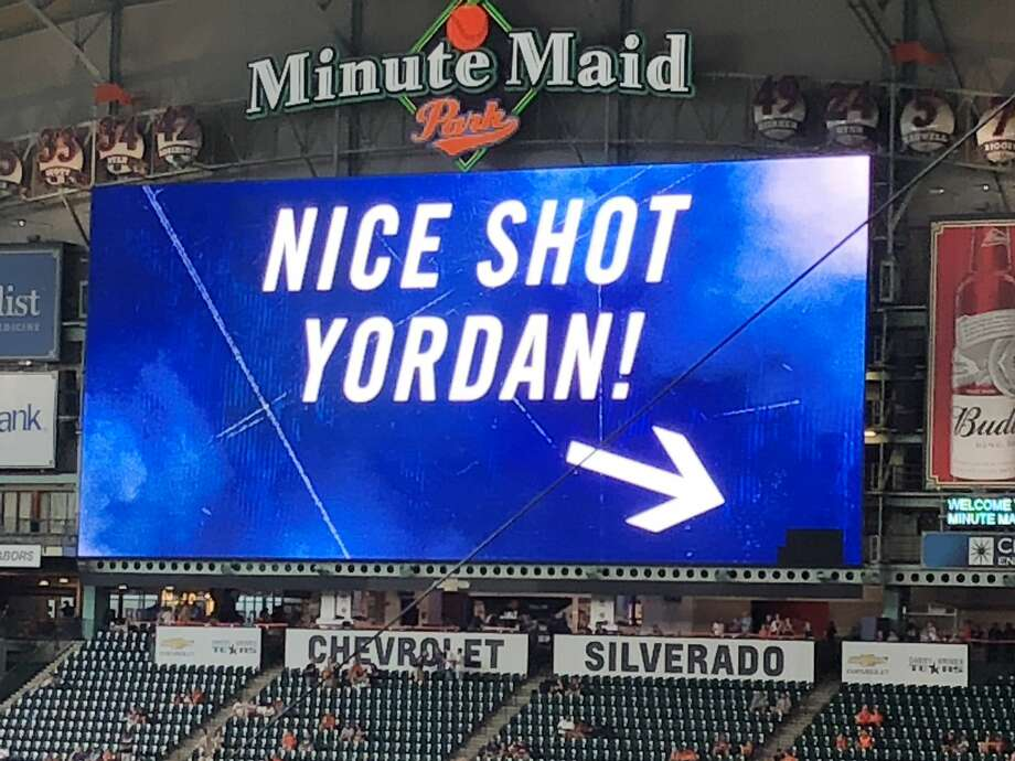 Astros rookie Yordan Álvarez broke the Jumbotron at Minute Maid Park during batting practice prior to Saturday's game against the Angels, but the Astros didn't seem to mind it. Photo: Chandler Rome/Houston Chronicle