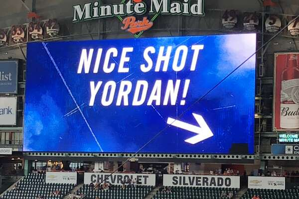 Astros rookie YordanÁlvarezbroke the Jumbotron at Minute Maid Park during batting practice prior to Saturday's game against the Angels, but the Astros didn't seem to mind it.