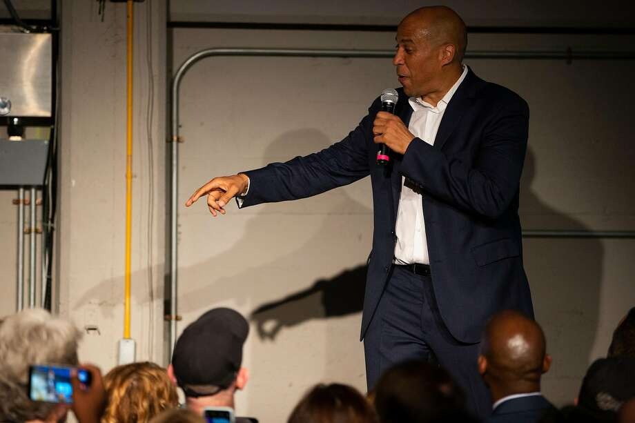 Sen. Cory Booker, D-N.J., delivers a soaring speech about the importance of love as a patriotic and human virtue as he seeks support for his presidential bid at the Folsom Street Foundry. Photo: Stephen Lam / Special To The Chronicle